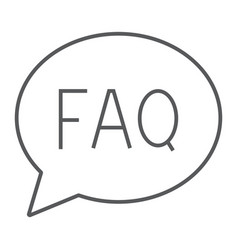 faq thin line icon speech and bubble button sign vector image