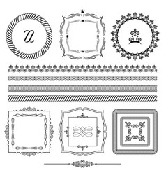 Frames borders ornamental lines vector