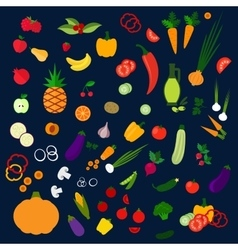 Fresh healthy farm fruits and vegetables icons vector image