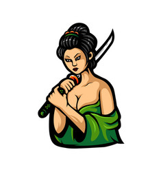 geisha mascot logo design vector image