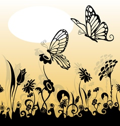 Grass and butterfly silhouette vector