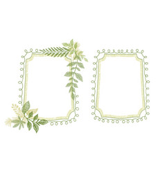 Green floral scrabble leaves frame vector