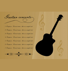Guitar concerts program template with black guitar vector