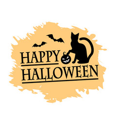 Halloween and black cat vector