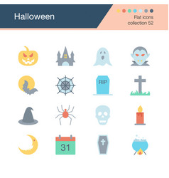 halloween icons flat design collection 52 vector image