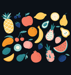 hand drawn tropical fruits organic apple banana vector image