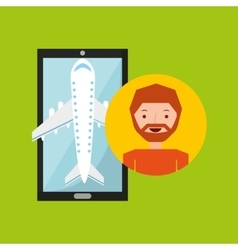 hand holds man beard mobile application travel vector image