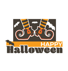happy halloween witch boots and flying bats vector image