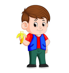 Healthy little boy eating banana vector