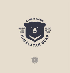 Himalayan bear logo mountain travel emblem vector