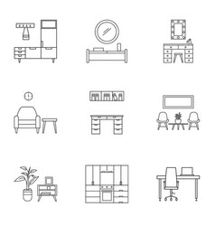 House furniture icon set outline style vector