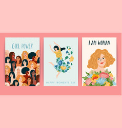 International women s day set templates vector
