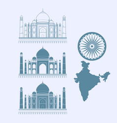 Isolated icon taj mahal and map of india vector