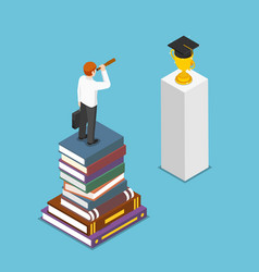 isometric businessman looking to graduation cap vector image