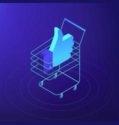 isometric digital and social media marketing vector image