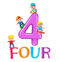 kids playing with big number four vector image