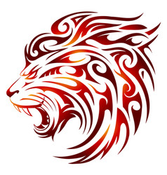 lion tattoo with fire flames vector image