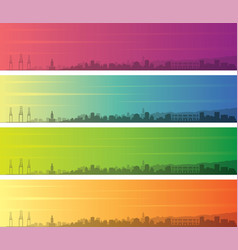 malaga multiple color gradient skyline banner vector image