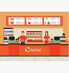 male and female cashier at fast food restaurant vector image