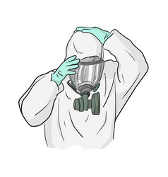 Man in ppe suit wearing gas mask to prevent vector