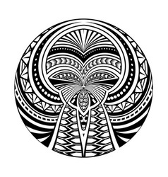 maori polynesian ethnic circle tattoo shape vector image