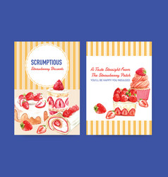 Menu template with strawberry baking design vector