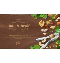Mix of natural raw nuts on wooden background vector