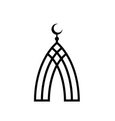 Mosque black lines islam symbol islamic vector