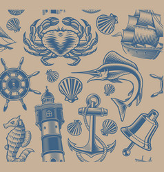 nautical seamless pattern on white background vector image