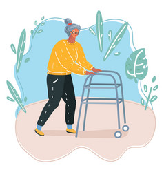 old woman running with her walker vector image