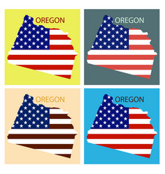 Oregon state of america with map flag print on vector