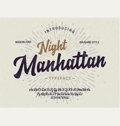 original brush script font retro typeface vector image