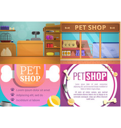 pet store banner set cartoon style vector image