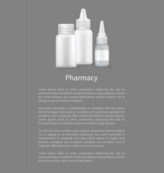 pharmacy banner image of vials with medical means vector image