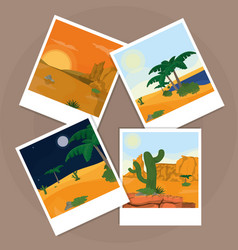 Pictures of the desert over cork board vector