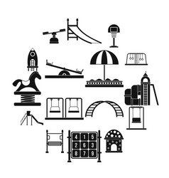 playground black simple icons set vector image