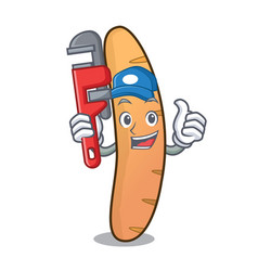 Plumber baguette mascot cartoon style vector