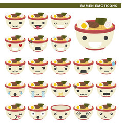 Ramen emoticons vector