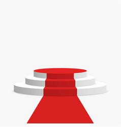 Red carpet and podium white round pedestal vector