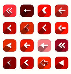 Red Flat Design Arrows Set in Rounded Squares vector image