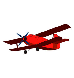 red retro airplane on white background vector image