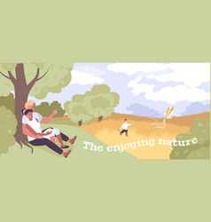 Relaxation on nature flat background vector