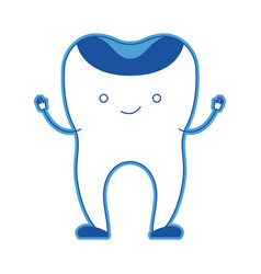Restored tooth cartoon in blue silhouette vector