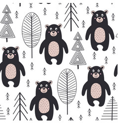 Seamless pattern with bear in forest scandinavian vector