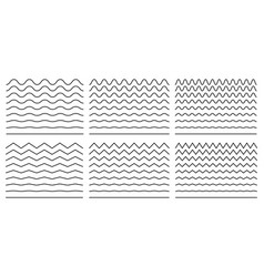 seamless wavy line and zigzag patterns set vector image