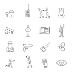 Security Guard Outline Icons vector