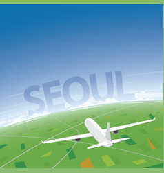 Seoul flight destination vector