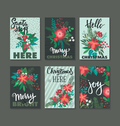 set of 6 vertical winter holidays greeting cards vector image