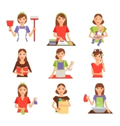 Set of housewife icon in flat style vector