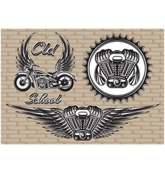 set retro emblems on motorcycle theme vector image